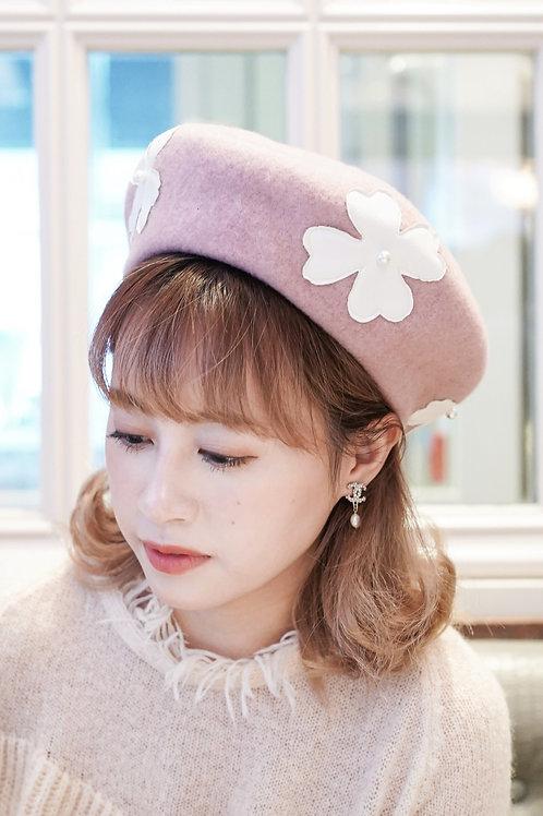 [售罄] PU皮花花仿珍珠貝蕾帽(粉色)