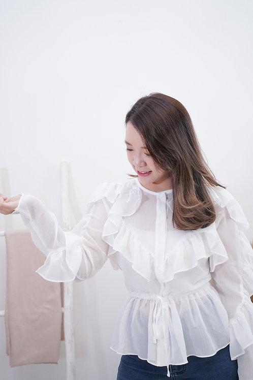 [現貨賣光不補] 透膚雪紡Ruffles束腰上衣(白色)
