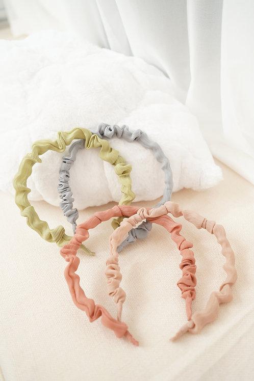 [現貨] 韓妞大流行小豬腸粉嫩襯色幼髮箍(粉藍/橘粉/淡粉/牛油果綠)