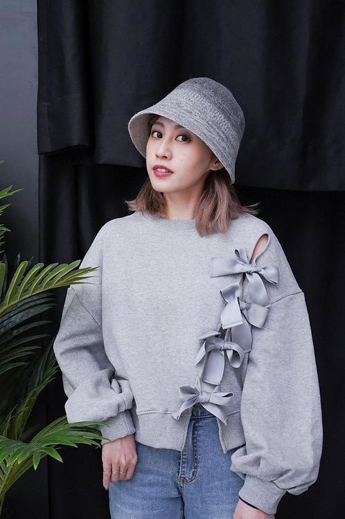 [售罄] 舒適易搭中空斜綁蝴蝶結衛衣(灰色)