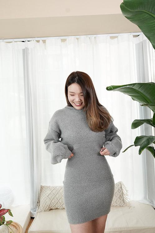 [預訂] 小性感針織連帽連身修臂貼身短裙(灰色)