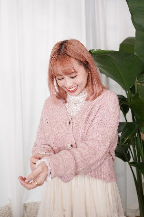 [預訂] 短版針織麻花紋柔軟薄外套(粉色)