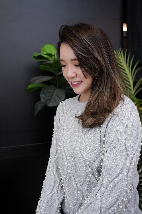 [售罄]大流行小珠裝飾冷衫上衣(灰色)