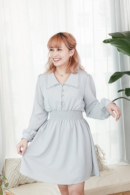 [預訂] 春季粉嫩色翻領修腰雪紡連身裙(粉藍色)