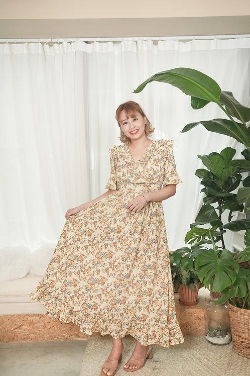 [預訂] 歐洲花園碎花荷葉邊前後V綁帶連身裙(黃啡配色)