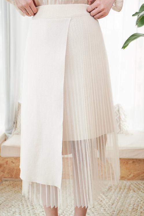 [售罄] 針織拼百摺紗直身半身裙(Cream色)