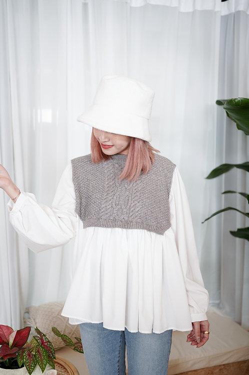 [預訂] 灰白針織雪紡拼接長版上衣