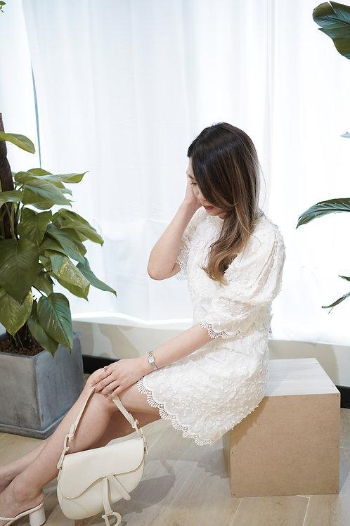 [現貨賣光不補] 實物驚艷立體蕾絲波浪邊超高質實物驚艷連身裙(白色)