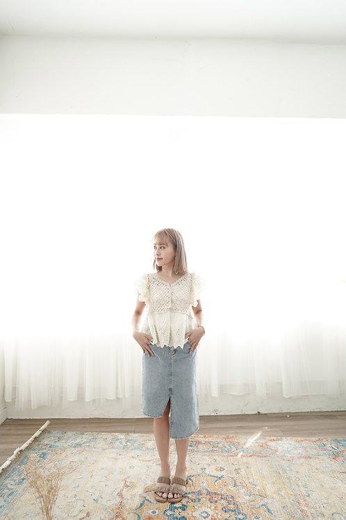 [現貨賣光不補] 高低長短設計感牛仔半身裙