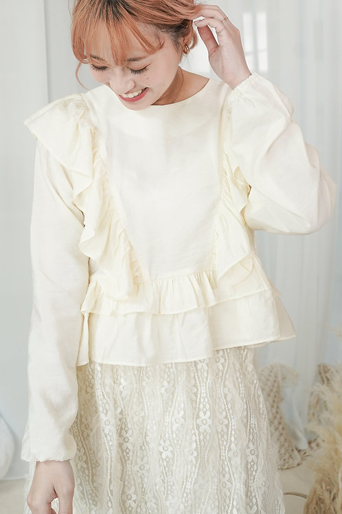 [預訂] 高質微光薄料短版荷葉飾肩橡筋袖上衣(Cream色)