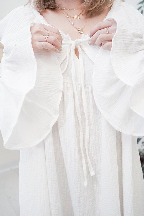[現貨賣光不補] 軟軟棉質小皺皺翻領寬鬆娃娃裙(白色)