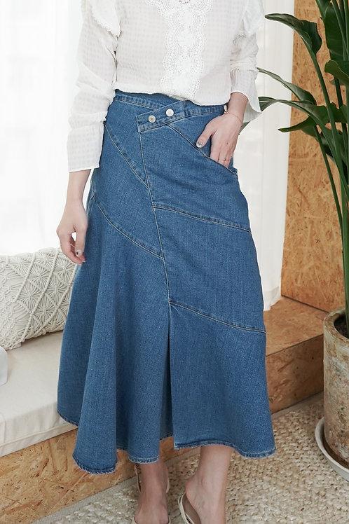 [現貨賣光不補] 設計感裙頭顯瘦斜紋開叉牛仔半身裙