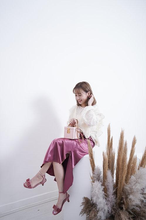 [預訂] 絕美絲光緞面花瓣裙擺半橡筋半身裙(桃粉色)
