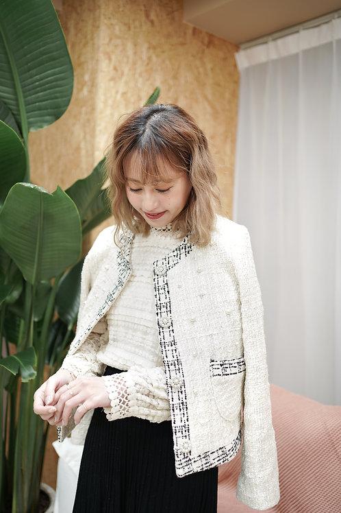 [售罄] Tweed小香風珍珠鈕扣釘珠外套(淺拼色)