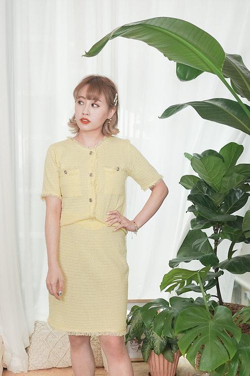 [現貨賣光不補] 夏料通爽針織小香風套裝(黃色)