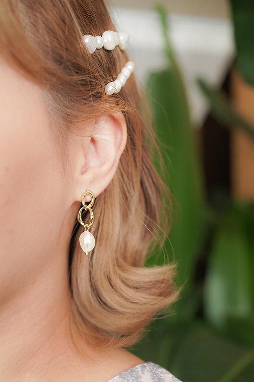 [現貨] 圈圈鏈條垂吊天然珍珠耳環