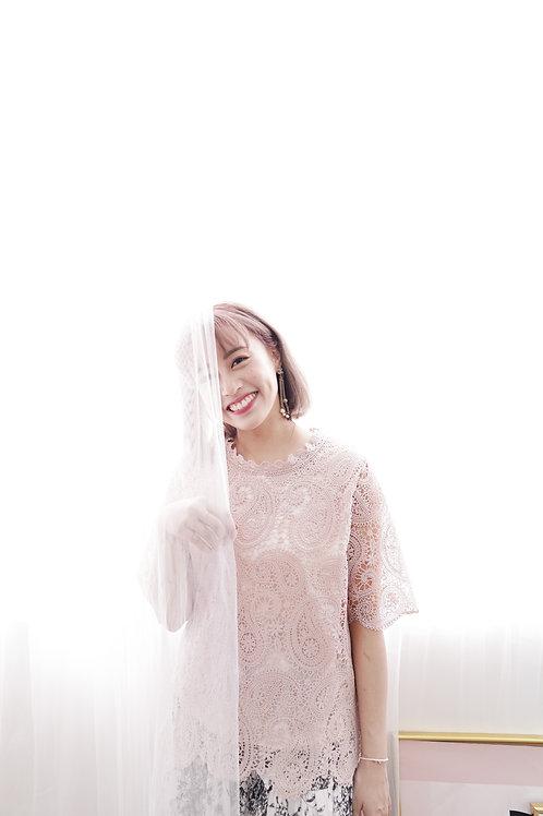 [現貨售光不補] 古巴比倫佩斯利蕾絲紋上衣(暗粉色)