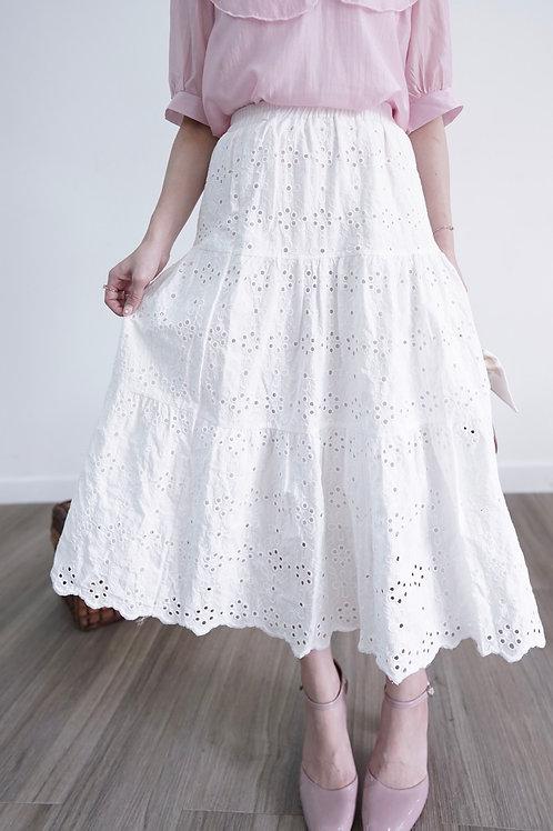 [現貨賣光不補] 通花刺繡鬆緊腰蛋糕半裙
