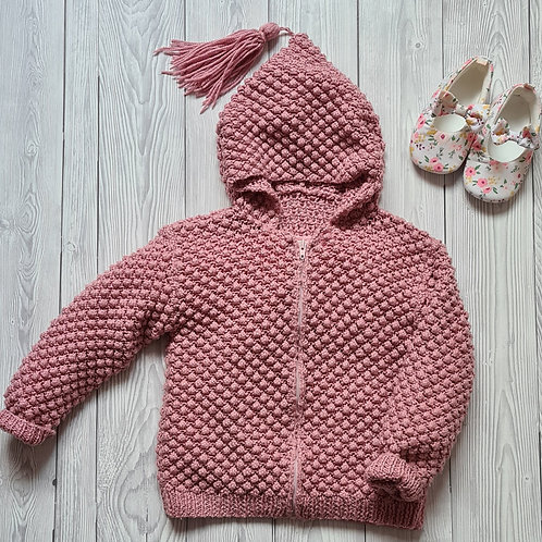Hand Knit Baby Girl Cardigan 6-12 Months