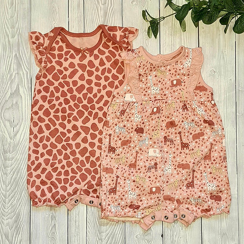 George Baby Girl 2 pk Rompers 6-9 months