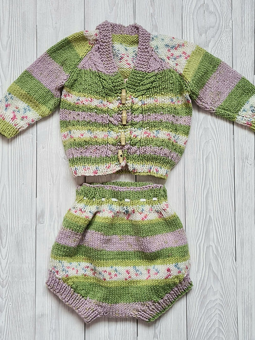Hand Knit Baby Outfit 3-6 Months