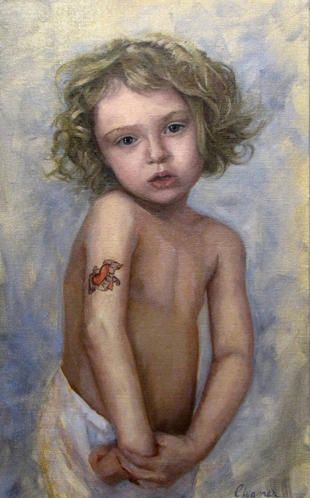 Portrait of a 4 year old girl Oil on Linen 11 by 18