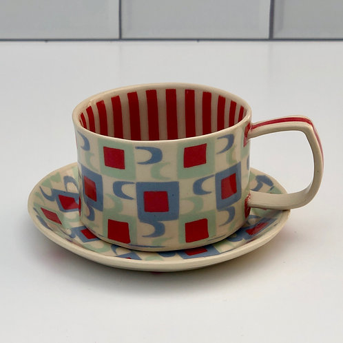 Red and White Espresso Cup and Saucer