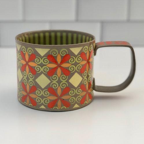 12 oz. Gray and Orange Curlicue Mug