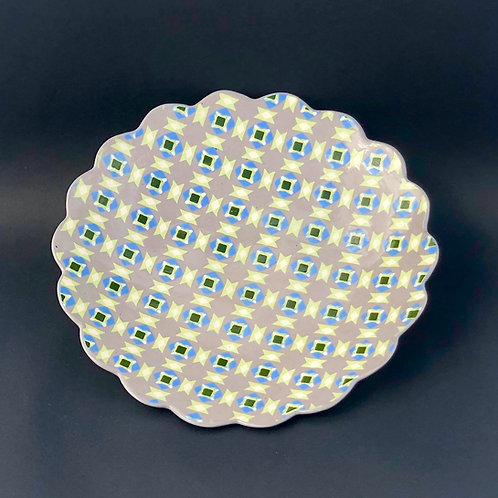 Gray and Blue 10 inch Serving Plate