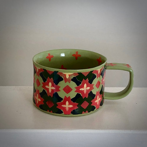 8 oz. Pea Green and Red Coffee/tea Cup