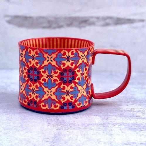Scarlet and Royal Blue 12 oz. Footed Mug