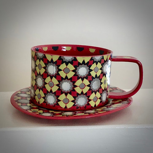 8 oz. Red Coffee/tea Cup with Saucer