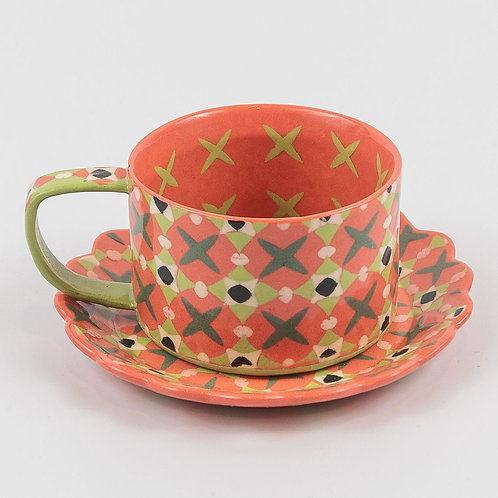4 oz. Pink Cup and Saucer