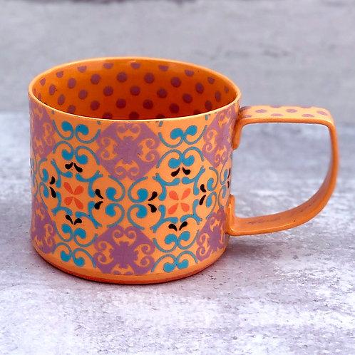 Tangerine and  Violet 12 oz. Footed Mug