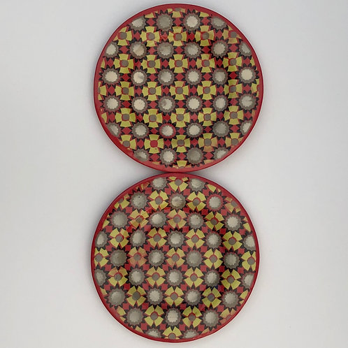 Set of 2 Red Cookie Plates