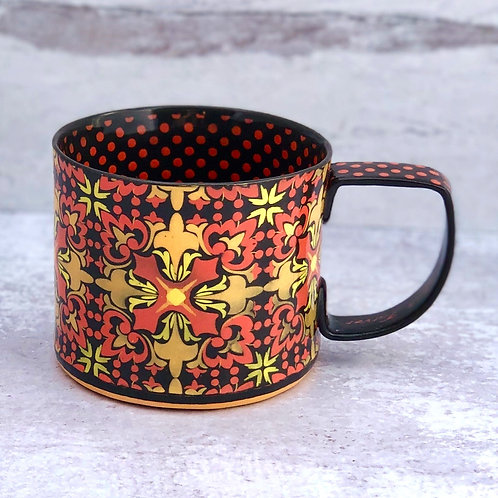 Black and Papaya  12 oz. Footed Mug