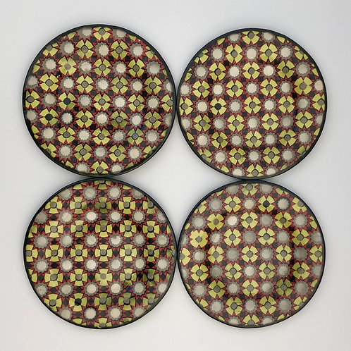 Set of 4 Black and Red Cookie Plates