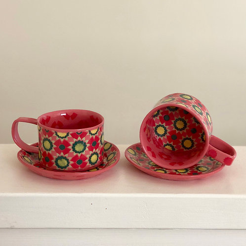 Pink and Red Espresso Cup and Saucer