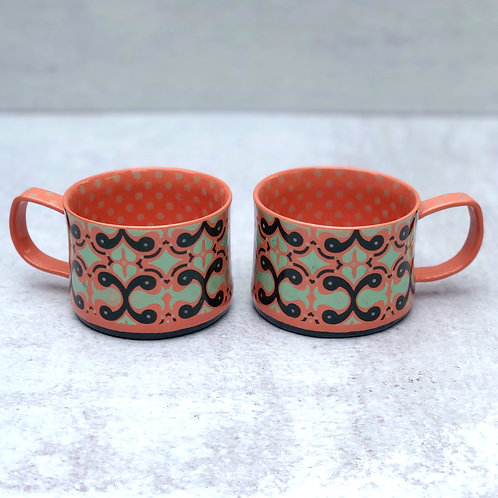 Pair of Mango and Black  4 oz. Footed Espresso Cups