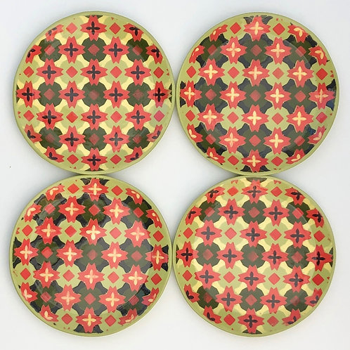 Set of 4 Red and Green Dessert Plates