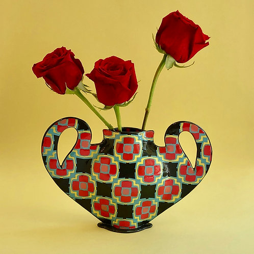 Black and Red Checkerboard Vase