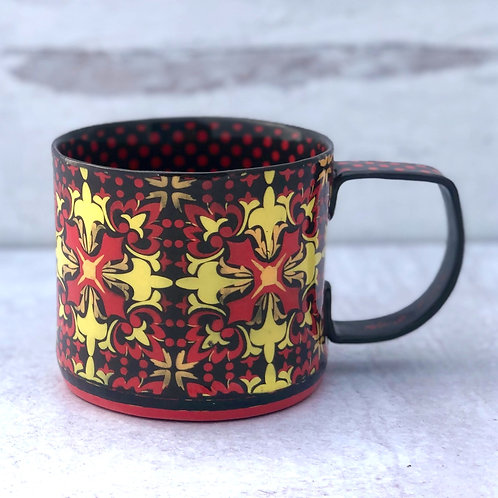 Black and Scarlet 12 oz. Footed Mug
