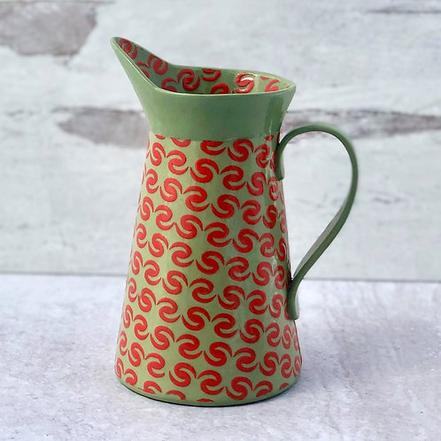 Small Scarlet and Green Pitcher