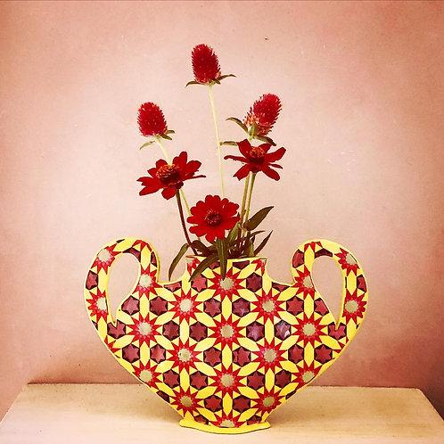 Red and Yellow  Sunburst Vase