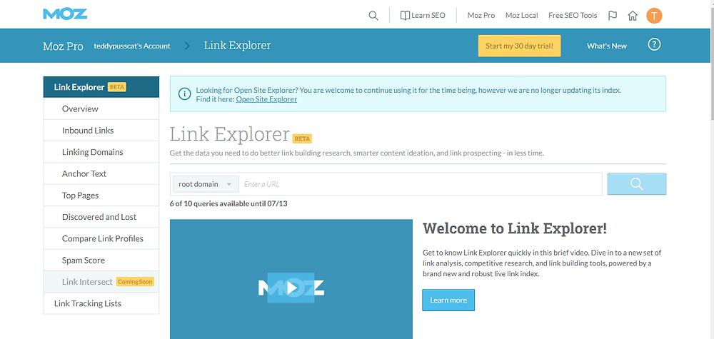 moz link explorer eg.