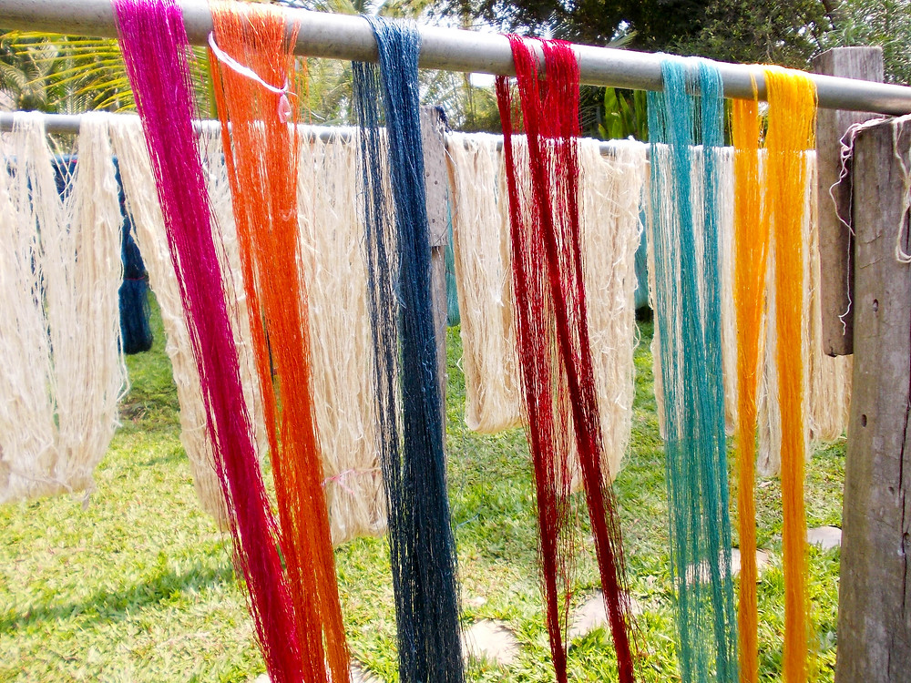 dyed silk drying