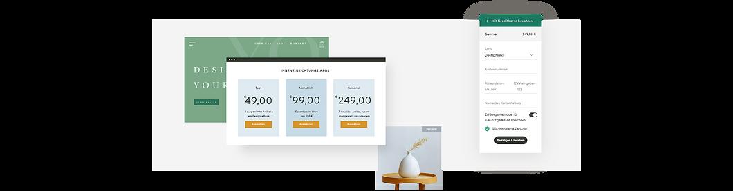 Storefront Inneneinrichter mit Abonnement-Preisplänen, grauem Sessel und Kasse.