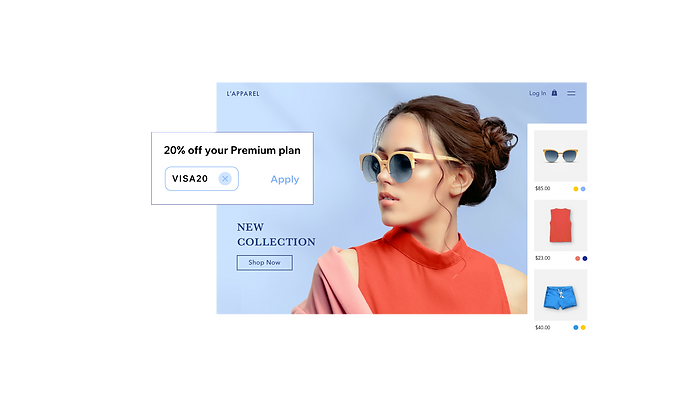 Clothing eCommerce website storefront with product menu, and Wix Premium plan coupon for Visa users.png