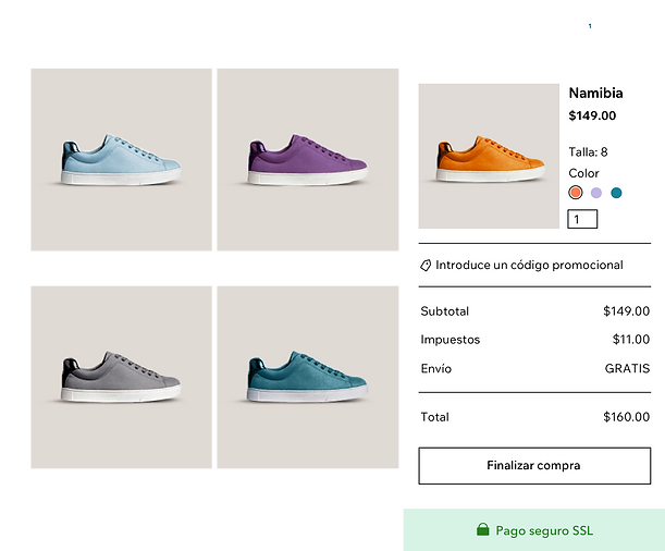 Galería de productos de tienda de zapatos online con diferentes variedades de zapatillas y el carrito y finalización de compra segura de Wix Payments.