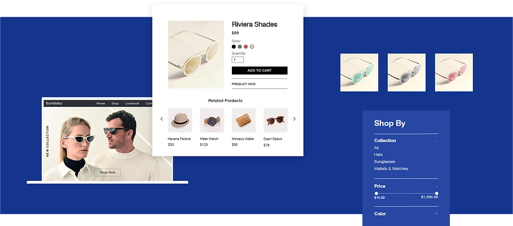 Online accessories store displaying storefront, product page and filter by product variant.